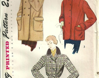 Simplicity 3327 Vintage 50s Sewing Pattern // Jacket Coat // Size 16 Bust 34