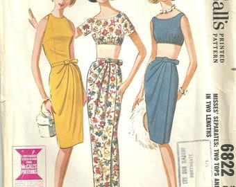 McCalls 6822 // Vintage 60s Sewing Pattern // Bra Top Or Halter And Sarong // Size 12