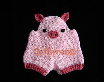 Babe Pig  Romper Overall Shorties, Buttons at Legs for Easy Change - INSTANT DOWNLOAD Crochet Pattern