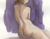 Shy Nude in Violet - 7.5 x 10 Watercolor Painting