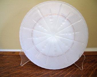 Vintage Milk Glass Cake Plate with Fleur de Lis Trim Estate Find