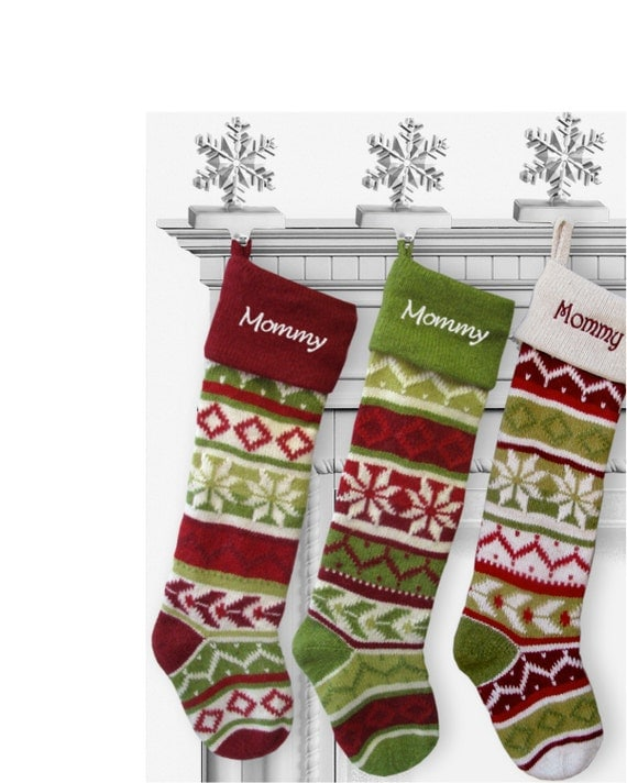 Knitting Pattern For Christmas Stocking Personalized : Personalized Knitted Christmas Stockings Red Green by eugenie2