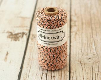 240yds SPOOL Halloween orange black white Divine Twine 4-ply cotton bakers twine string