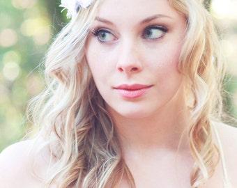 white flower bridal halo
