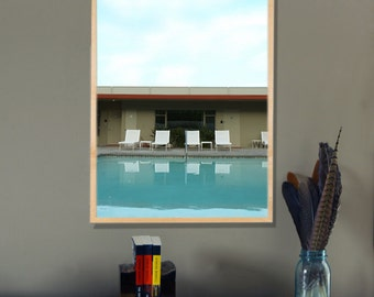 Swimming Pool Art Mid Century Hotel Vacation  Metallic Fine Art Photography