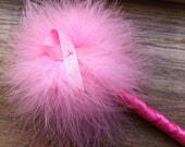 Pink Ribbon Feather Pen for Breast Cancer Awareness - Refillable Ink - Marabou Feathers - Guest Book Pen - Clueless Pen - Survivor Hope Love