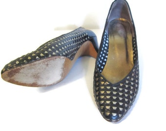 vintage Heels, size 7 , Metallic Woven Leather,  Pumps, Shoes