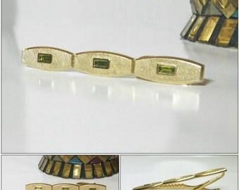 Vintage HICKOK Green Stone Tie Clip Tie Bar