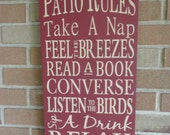 PATIO Rules Sign, Housewares, Home Decor, Typography, Wedding