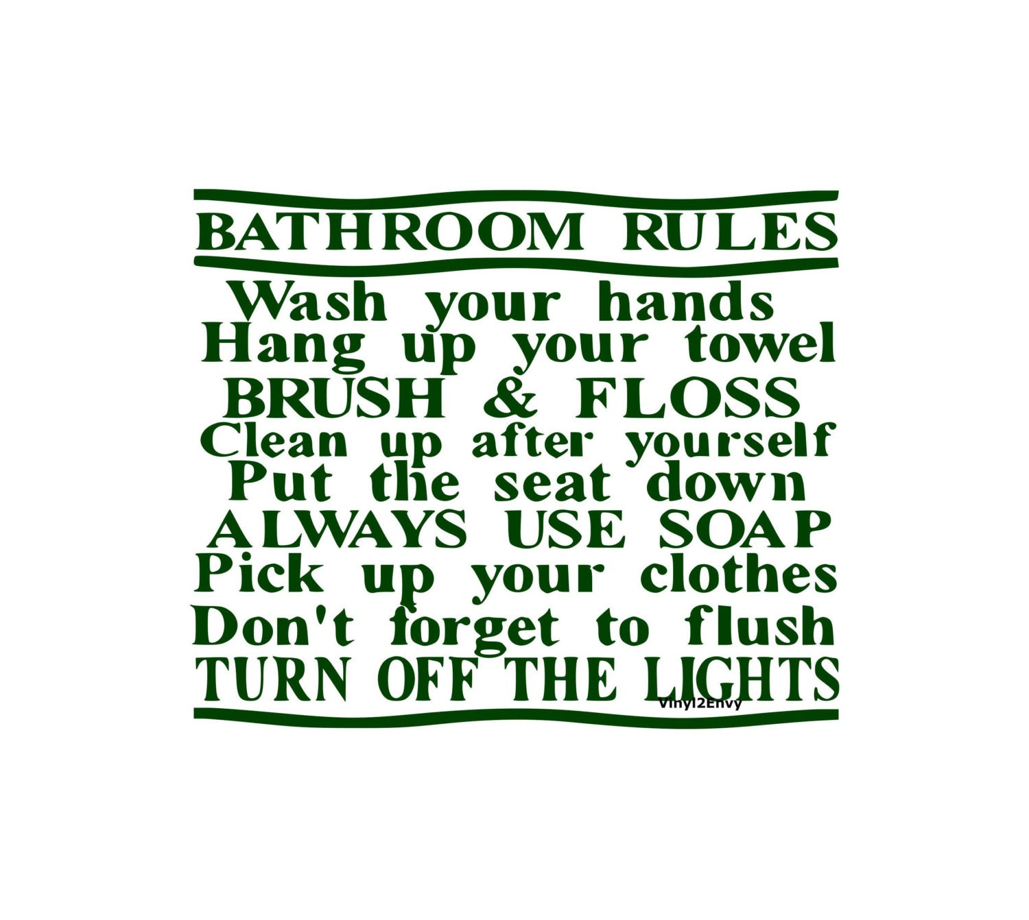 Bathroom rules wall decal vinyl wall decals wall decor for Bathroom decor rules