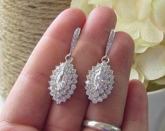 Crystal Bridal Earrings, Vintage Style Wedding Earrings, Estate Jewelry, Marquis Cubic Zirconia, Drop Earrings, Diamond Cubic Zirconia