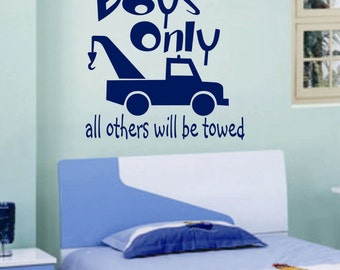 Boys Only Tow Truck, Vinyl Wall Lettering, Vinyl Wall Decals, Vinyl Decals, Vinyl Lettering, Wall Decals, Playroom Decal, Boy Room Decal