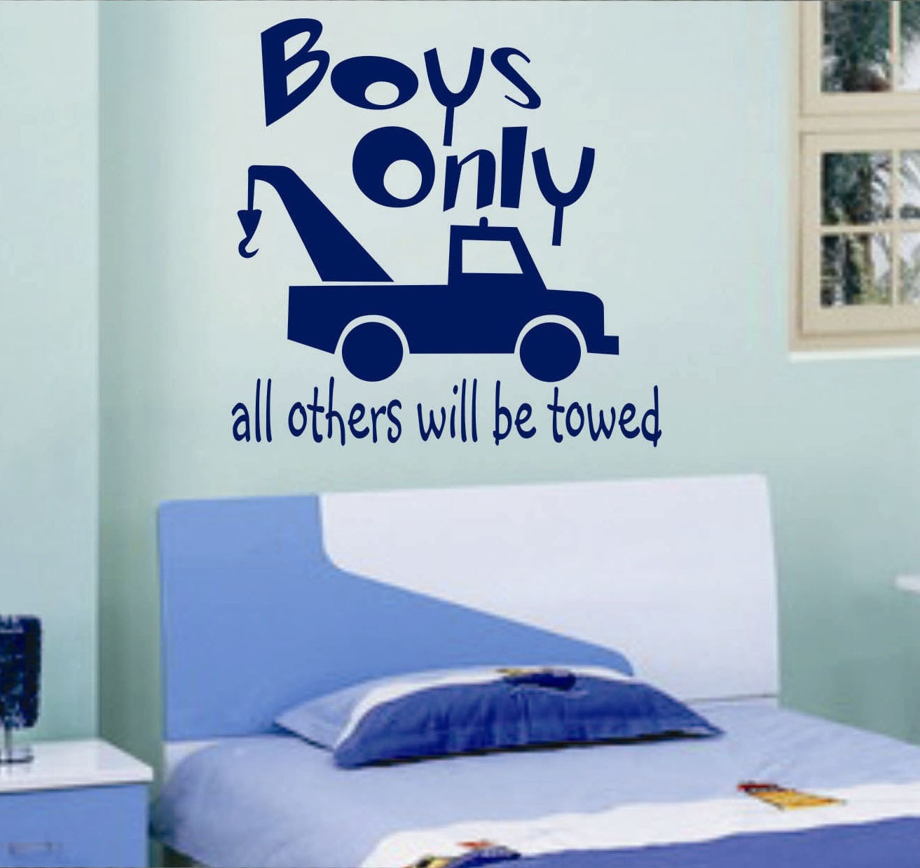 boys only tow truck vinyl wall lettering vinyl wall decals. Black Bedroom Furniture Sets. Home Design Ideas