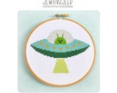 Cross Stitch Pattern, Alien Spaceship, UFO
