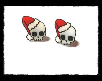Christmas, Santa skull earrings