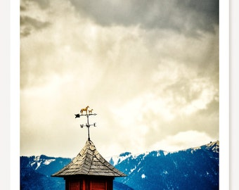 To The West - Weather Vane Photograph - Rustic Art - Mountain Landscape Photography - Country Architecture - Colorado Photo