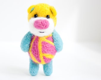 Neon color geometric pocket felted bear