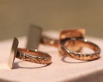 Copper Vine Ring Square Glue Pad for Gluing - Size 8