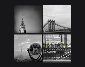 SALE, New York Photography, Set of 4 Prints, Black and White, Travel, NYC Art, New York City Prints, 4 Photo set