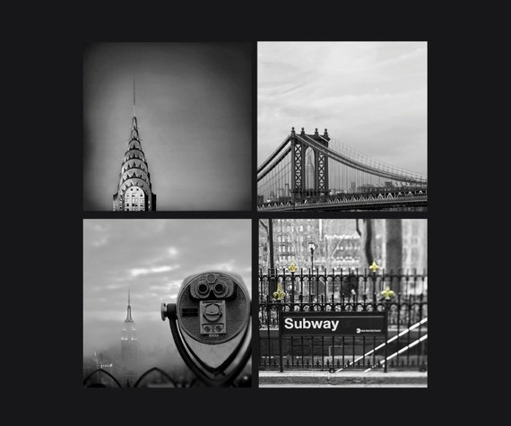 Sale - New York Photography Set in Black and White / NYC Art / Set of 4 Prints