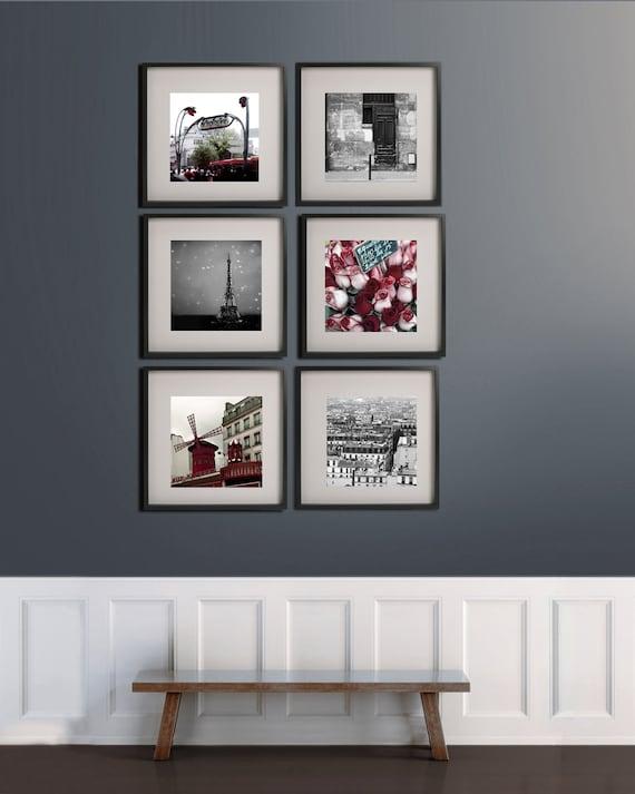 SALE, Black and Red Paris Prints, 6 Photo Set, Travel, Paris Photography, Eiffel Tower, Paris Wall Decor, Gallery Wall Art