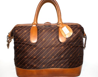 GUCCI Vintage Handbag Carry On Brown Leather Large Monogram Duffle Tote  - AUTHENTIC -