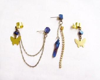 Boho Quartz Ear Cuff Earrings, Double Chain Ear Cuff, Butterfly Ear Cuff Earring, Boho Earrings