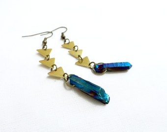 Blue Quartz Earrings, Titanium Quartz Geometric Earrings, Quartz Dangle Handmade Earrings