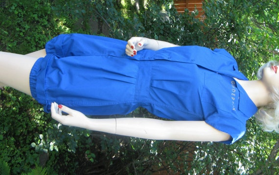 Vintage 1950s womens blue gym suit romper by moore small for Womens school uniform shirts