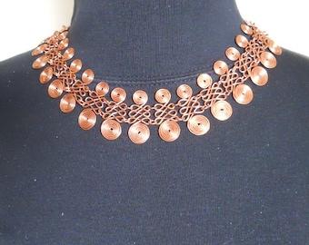 Spiral Cleopatra Necklace Copper Choker Statement Handmade  (CN-101-3)