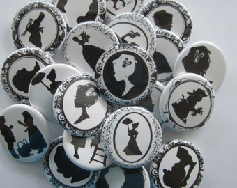 """set of 20 1"""" or  1.25 inch pinback buttons, flatback buttons or hollowback buttons"""