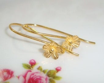 Handmade 24K Gold Vermeil Sterling Silver Lotus Blossom Floral Ear wires 26x12 mm,Sale, 1 pair - EW-0026s