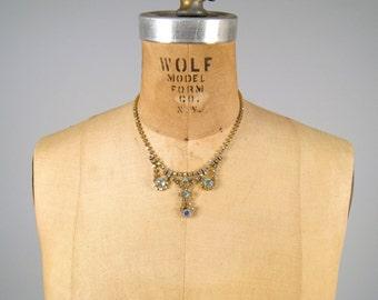 SALE • 1950s aurora borealis rhinestone necklace • vintage 50s necklace • gold tone AB drop necklace • evening necklace