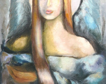 Angel of Time - Original Oil Painting - Portrait Painting - Surreal Painting - Religious Painting