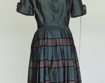 Vintage 1950s Grey and Pink Striped Taffeta Dress with Side Pockets