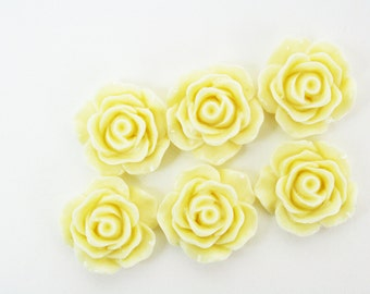 6 Resin Flower Cabochons Yellow 17mm 15x17mm [FCAB1045]