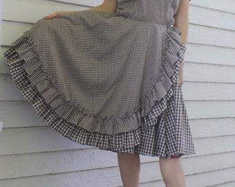 Gingham Dress Brown Print Square Dance Rockabilly Vintage M