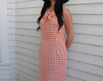 Vintage Gingham Dress Orange White Sleeveless 60s Sears L