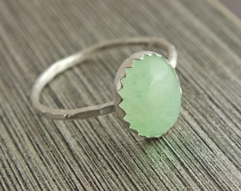 Aventurine Stacking Ring, Aventurine Sterling Silver Ring