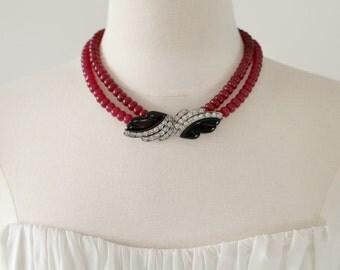 Night Glamour. Cherry Quartz Repurposed Vintage 1940s Rhinestone and Bakelite Buckle