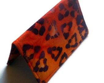 Card Wallet - Batik Leopard Orange and Purple - Girls night out, credit card, gift card holder