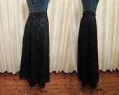 Vintage Formal Green and Black Lace Long High Waisted Maxi Skirt