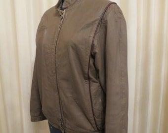 Vintage 1970s Beige and Burgundy Leather  Biker Chick Jacket Coat