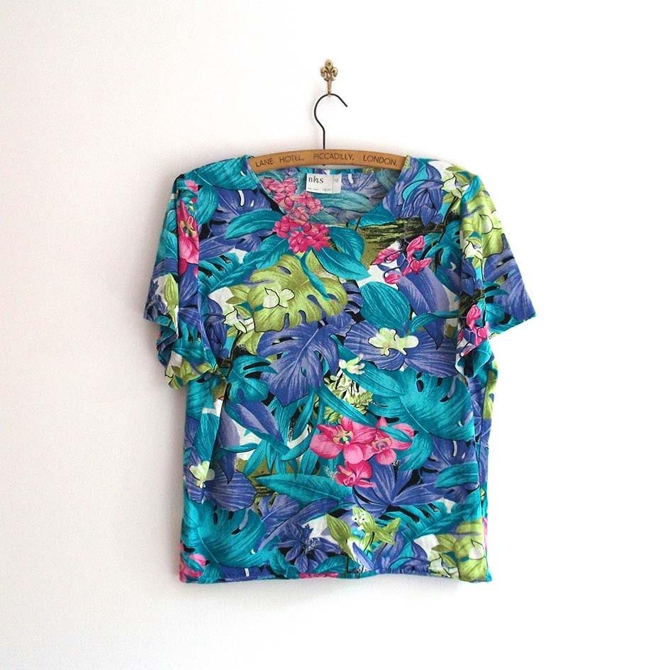 Tropical print t shirt bright hawaiian print by eclecticshop for Lsu hawaiian print shirts