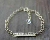Namaste Bracelet, Gold Hand Stamped Bracelet, Yoga Jewelry
