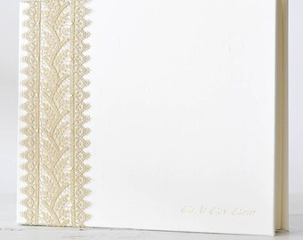 Royal Gold Lace Wedding Photo Album or Photo Guest Book - by Claire Magnolia