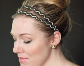 Bohemian Headband, Adult Elastic Headband in Brown Zig Zag