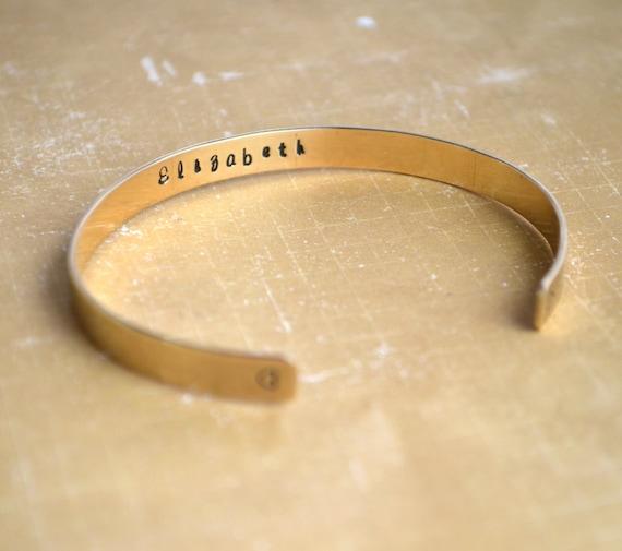 Custom Brass Cuff Bracelet, Personalized Hand Stamped Jewelry, Hidden Message, Custom Bracelet, Wedding, Keepsake, Mother,