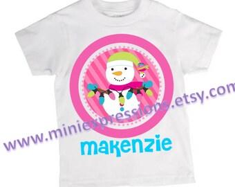 Personalized Pink Snowman shirt