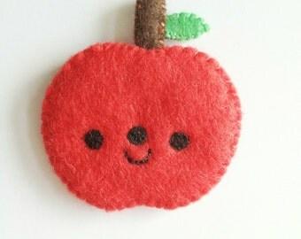 Happy apple brooch, Kawaii apple, felt apple brooch, apple pin